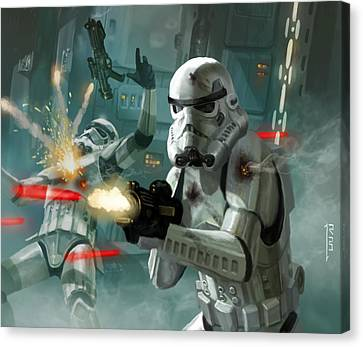 War Canvas Print - Heavy Storm Trooper - Star Wars The Card Game by Ryan Barger