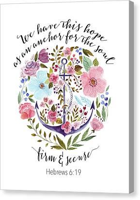 Hebrews 6-19 Floral Anchor Canvas Print by Tara Moss
