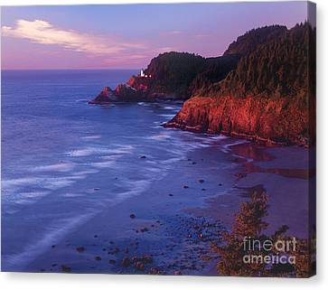 Canvas Print featuring the photograph Heceta Head Lighthouse At Sunset Oregon Coast by Dave Welling