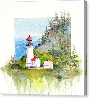Canvas Print featuring the painting Heceta Head Lighthouse by Bonnie Rinier