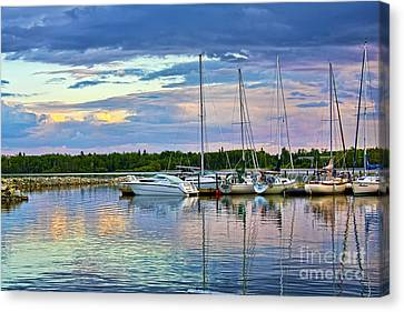 Canvas Print featuring the photograph Hecla Island Boats II by Teresa Zieba