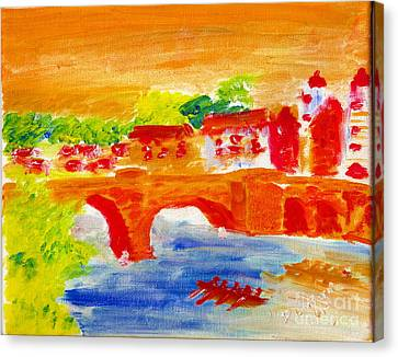 Heidelberg Old Bridge And Neckar River 1 Canvas Print by Richard W Linford