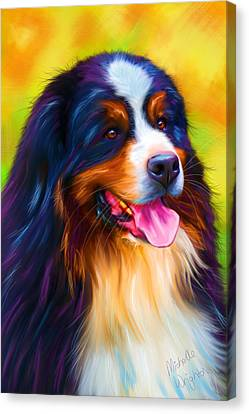 Colorful Bernese Mountain Dog Painting Canvas Print by Michelle Wrighton
