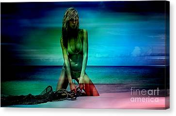 Heidi Klum Canvas Print by Marvin Blaine