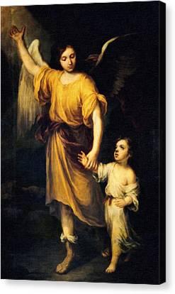 Heiliger Schutzengel  Guardian Angel 12 Oil Canvas Print