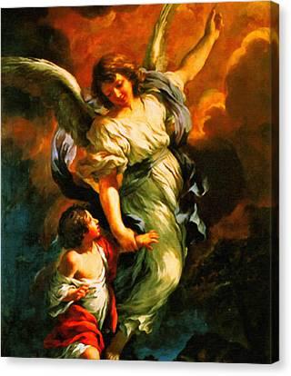 Heiliger Schutzengel  Guardian Angel 4  Enhanced Canvas Print by MotionAge Designs