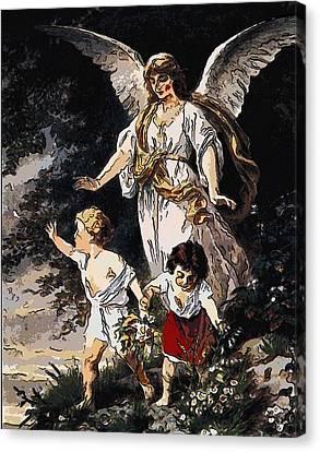 Heiliger Schutzengel  Guardian Angel 6 Lines Canvas Print by MotionAge Designs