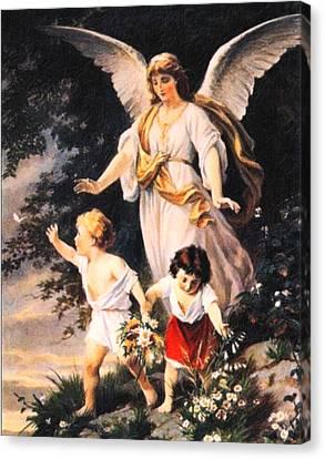 Heiliger Schutzengel  Guardian Angel 6 Pastel Canvas Print by MotionAge Designs