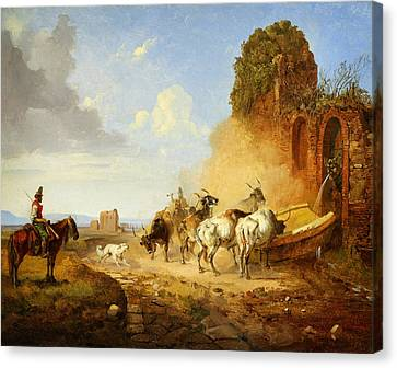 Cattle Dog Canvas Print - Heinrich Burkel Cattle Watering At A Fountain On The Via Appia A Tiqua by MotionAge Designs
