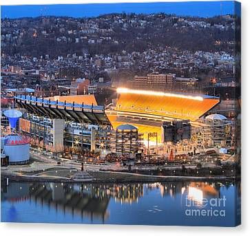 Heinz Field At Night Canvas Print by Adam Jewell