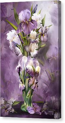 Heirloom Iris In Iris Vase Canvas Print by Carol Cavalaris