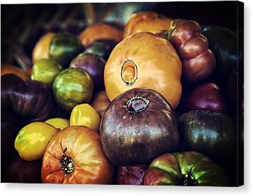 Chocolate Canvas Print - Heirloom Tomatoes At The Farmers Market by Scott Norris