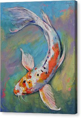 Heisei Nishiki Koi Canvas Print by Michael Creese