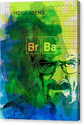 Heisenberg Watercolor Canvas Print by Naxart Studio