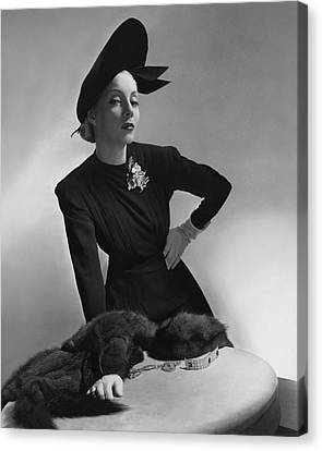 Helen Bennett Wearing A Dress And Hat Canvas Print