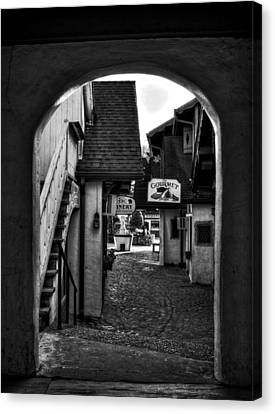 Helen Georgia Side Street In Black And White Canvas Print by Greg and Chrystal Mimbs