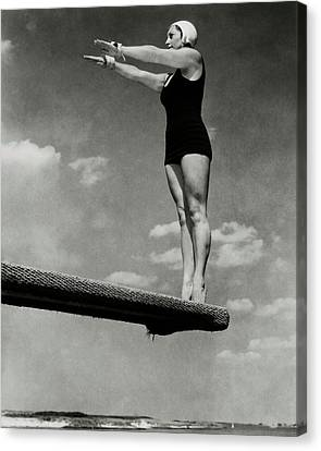 Diving Board Canvas Print - Helen Meany On A Diving Board by Edward Steichen