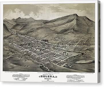 Helena Montana Map  1875 Canvas Print by Daniel Hagerman
