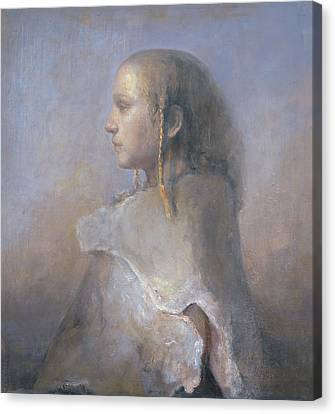 Painterly Canvas Print - Helene In Profile  by Odd Nerdrum
