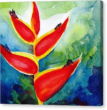 Heliconia - Abstract Painting Canvas Print by Carlin Blahnik