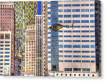 Helicopter In The City Canvas Print by Juli Scalzi