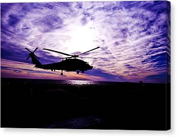 Helicopter Silhouette At Sunset Canvas Print by Mountain Dreams