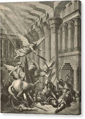 Heliodorus Punished In The Temple Canvas Print by Antique Engravings