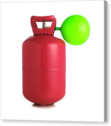Blows Air Canvas Print - Helium Gas Cylinder And Balloon by Science Photo Library