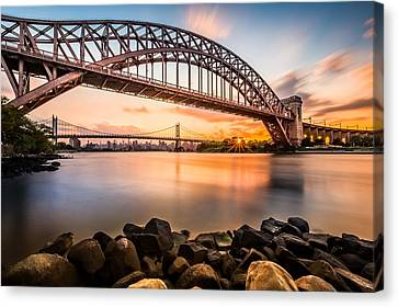 Canvas Print featuring the photograph Hell Gate And Triboro Bridge At Sunset by Mihai Andritoiu