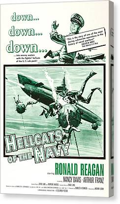 1950s Poster Art Canvas Print - Hellcats Of The Navy, Us Poster Art by Everett