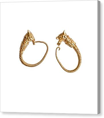 Hellenistic Gold Earrings Canvas Print by Science Photo Library