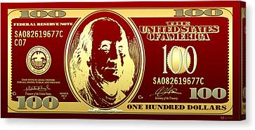 Hello Benjamin - Golden One Hundred Dollar Us Bill On Red Canvas Print by Serge Averbukh