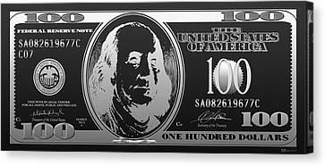 Hello Benjamin - Silver One Hundred Dollar Us Bill On Black Canvas Print by Serge Averbukh