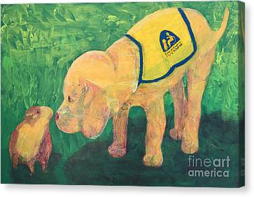 Canvas Print featuring the painting Hello - Cci Puppy Series by Donald J Ryker III