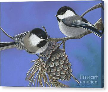 Hello Chickadees Canvas Print by Tracy L Teeter