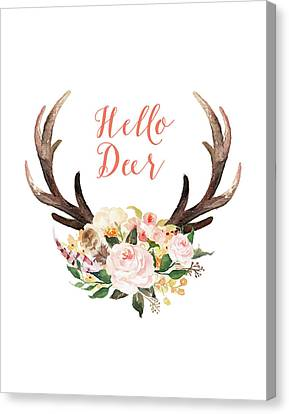 Spring Flowers Canvas Print - Hello Deer Floral by Tara Moss