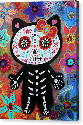 Hello Kitty Dia De Los Muertos Canvas Print