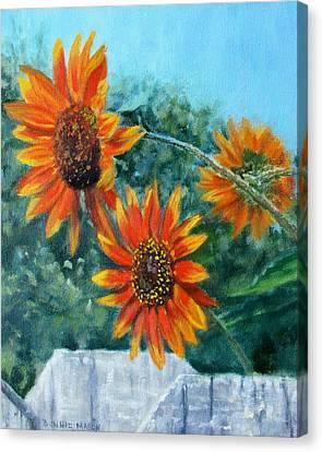 Garden Scene Canvas Print - Hello Neighbor-sunflowers Over The Fence by Bonnie Mason