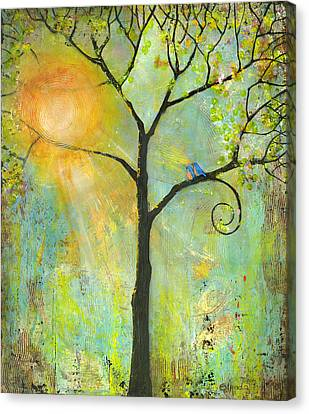 Hello Sunshine Tree Birds Sun Art Print Canvas Print by Blenda Studio