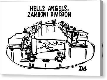 Gangs Canvas Print - Hells Angels by Drew Dernavich