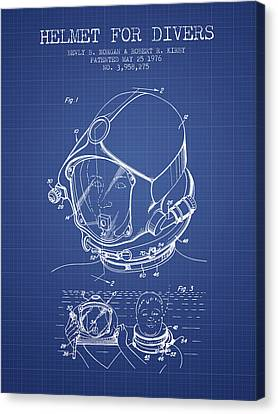 Helmet For Divers Patent From 1976 - Blueprint Canvas Print