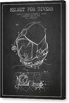 Helmet For Divers Patent From 1976 - Dark Canvas Print