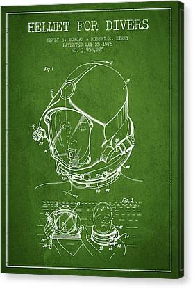 Diving Helmet Canvas Print - Helmet For Divers Patent From 1976 - Green by Aged Pixel