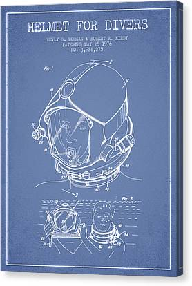 Diving Helmet Canvas Print - Helmet For Divers Patent From 1976 - Light Blue by Aged Pixel