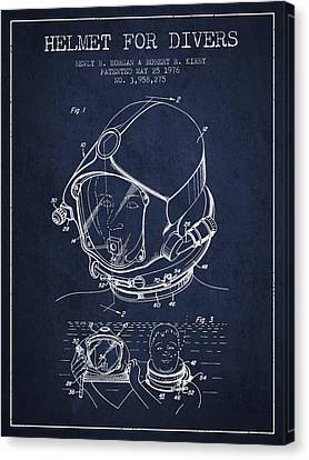 Helmet For Divers Patent From 1976 - Navy Blue Canvas Print