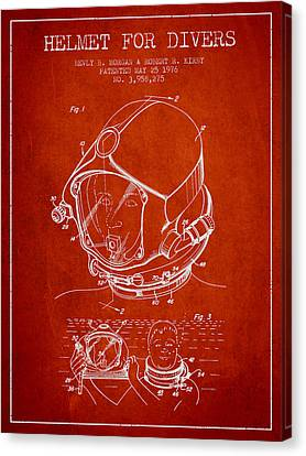 Helmet For Divers Patent From 1976 - Red Canvas Print