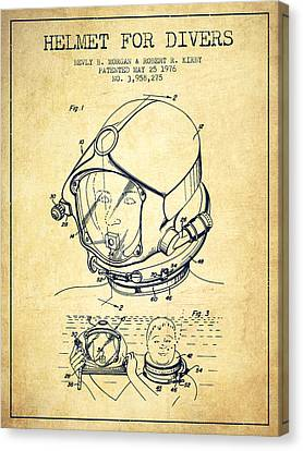 Diving Helmet Canvas Print - Helmet For Divers Patent From 1976 - Vintage by Aged Pixel