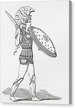 Helmeted Greek Warrior Wearing Greaves And Armour Holding A Clipeus Shield And Sword. From The Canvas Print by Bridgeman Images