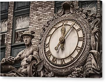 Canvas Print featuring the photograph Helmsley Building Clock by James Howe