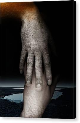 Digital Touch Canvas Print - Helping Hand by Johan Lilja